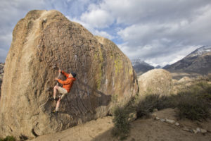 Doug Robinson bouldering in the Buttermilk